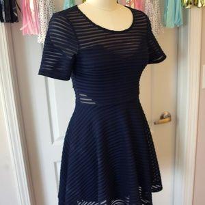 LUSH Striped Mesh Navy Cutout Flared Dress Size M